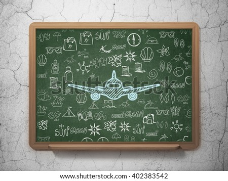 Travel concept: Chalk Blue Aircraft icon on School board background with  Hand Drawn Vacation Icons, 3D Rendering - stock photo