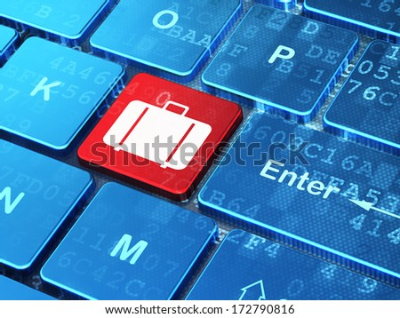 Travel concept: computer keyboard with Bag icon on enter button background, 3d render - stock photo