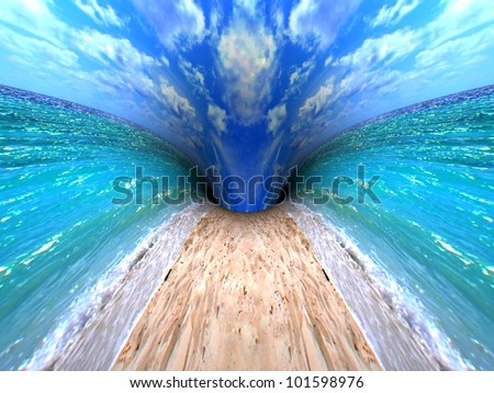 Travel concept. 3d render ocean beach landscape. - stock photo