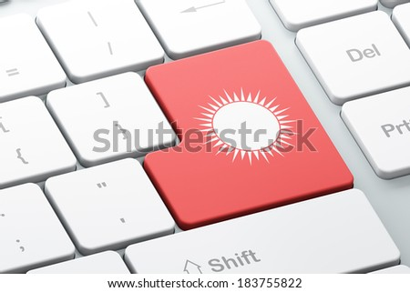 Travel concept: Enter button with Sun on computer keyboard background, 3d render - stock photo