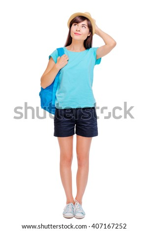 Travel concept. Full length studio portrait of pretty young woman in hat with backpack. Isolated on white. - stock photo
