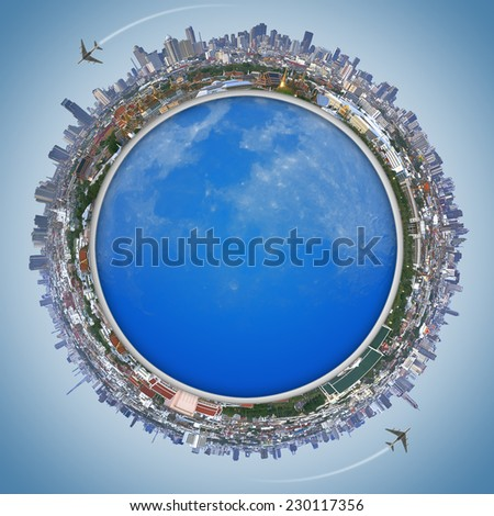 Travel concept, Landscape Bangkok city  and the Palace of Thailand. - stock photo