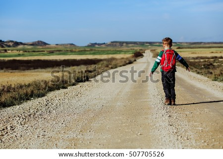 travel concept - little boy hiking on the road to mountains