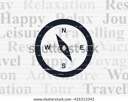 Travel concept: Painted black Compass icon on White Brick wall background with  Tag Cloud