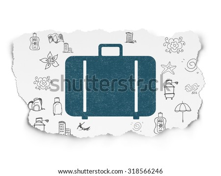 Travel concept: Painted blue Bag icon on Torn Paper background with  Hand Drawn Vacation Icons - stock photo