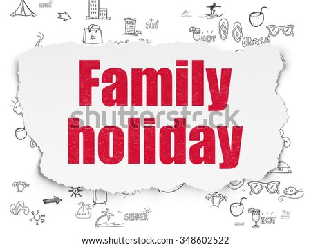 Travel concept: Painted red text Family Holiday on Torn Paper background with Scheme Of Hand Drawn Vacation Icons - stock photo