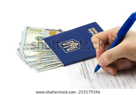 Travel concept. Passport, dollars, blank of visa application isolated on white background - stock photo