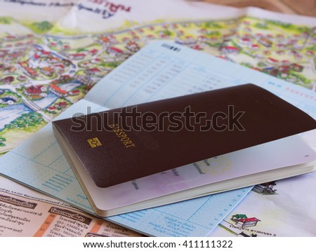 travel concept,  passports on the map of Thailand.Shallow depth of field. - stock photo