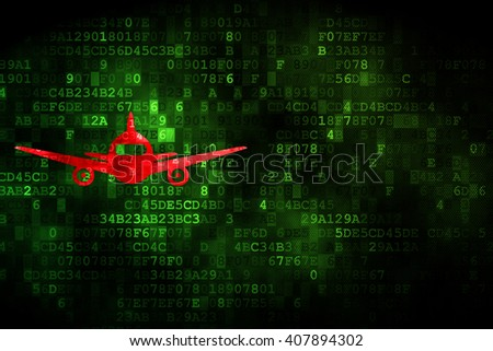 Travel concept: pixelated Aircraft icon on digital background, empty copyspace for card, text, advertising - stock photo