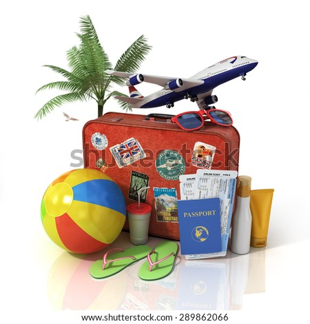 Travel concept. Plane, suitcase, passport, tickets and beach objects. Recreation. - stock photo