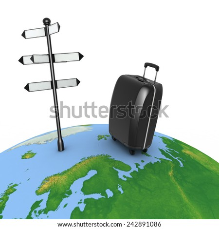 Travel concept. Signpost and suitcase on a globe. 3d render illustration - stock photo