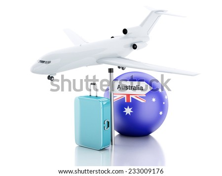 Travel concept. Suitcase, plane and australia flag icon. 3d renderer  illustration - stock photo