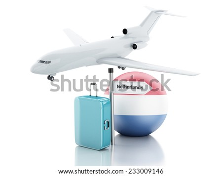 Travel concept. Suitcase, plane and netherlands flag icon. 3d renderer illustration  - stock photo