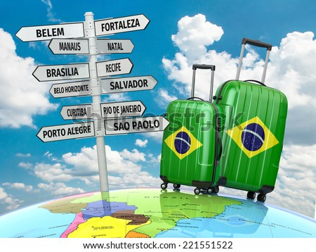 Travel concept. Suitcases and signpost what to visit in Brazil.  3d - stock photo