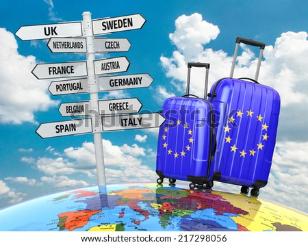 Travel concept. Suitcases and signpost what to visit in Europe. 3d - stock photo
