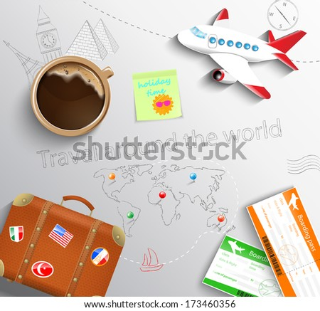 Travel concept. The plane, cup of coffee, baggage and tickets with the schematical image of the Eiffel Tower, Big Ben, the Egyptian pyramids and world maps. Raster copy. - stock photo