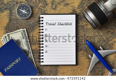 Checklist travelers for stock images royalty free images travel concept with notebook written travel checklist with passport camera airplane model compass gumiabroncs Gallery