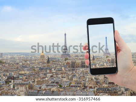 travel concept with  skyline of Paris city with Eiffel Tower from above, France - stock photo
