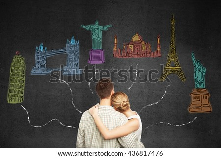 Travel concept with young honeymoon couple looking at sketches connected with lines on concrete background - stock photo
