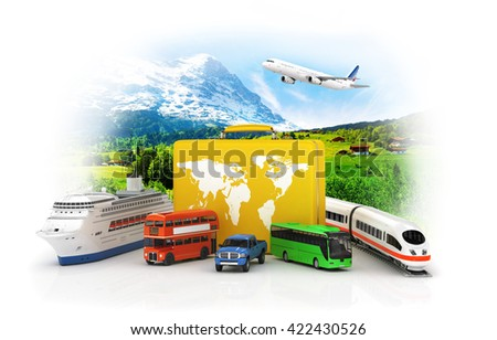 Travel concept. Yellow suitcase with transport for travel on a white background. Bus, car, train and ship. 3d illustration - stock photo