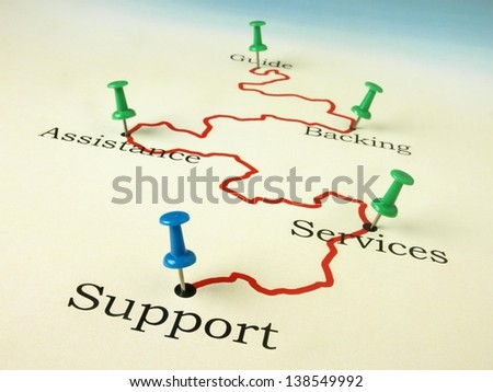 Travel Destination: Guide, Backing, Assistance, Services and Support - stock photo