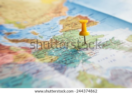 travel destination, pin on the map - stock photo