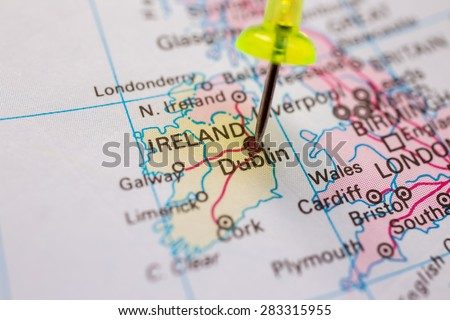 Travel destination pin on map ireland stock photo 283315955 travel destination pin on the map ireland on atlas world map gumiabroncs Image collections