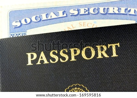 Travel documents - Social security card and United States passport - stock photo