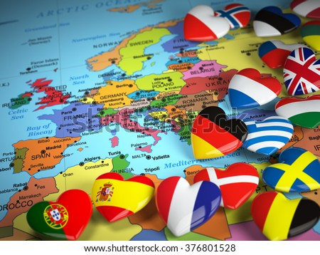 map of europe and hearts with flags of european countries 3d