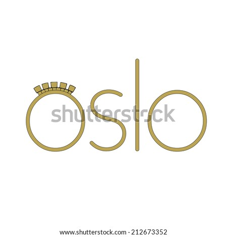 Travel Icon representing the European Norwegian city of Oslo  - stock photo