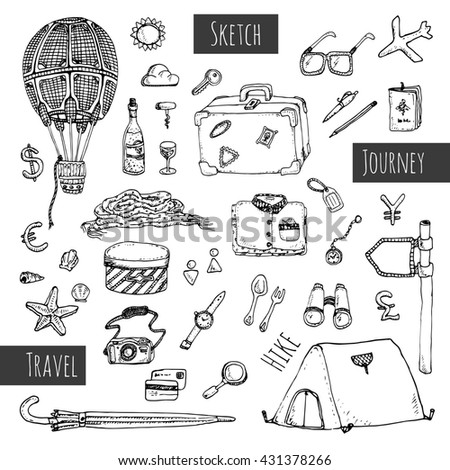 Travel icons set. Hand drawn sketch illustration isolated on white background.
