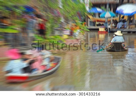 Travel in bangkok of Thailand by original transportation system, Festive background with defocused lights, Bokeh , Lighten, Line of light , speed movement - stock photo