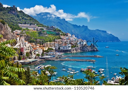 travel in Italy series - view of beautiful Amalfi - stock photo