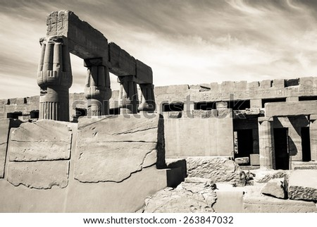 Travel in Luxor, famous Egyptian landmarks. Ancient Egypt columns in Karnak Temple. Hypostyle hall of the old Amun temple. - stock photo