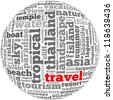 Travel info-text graphics and arrangement concept on white background (word cloud) - stock