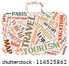 Travel info-text graphics composed in bag shape concept (word clouds) on white background - stock photo