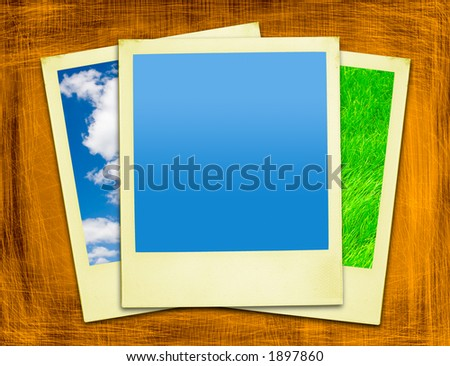 Travel instant photos On Grunge Background (with clipping path for easy framing your picture) - stock photo