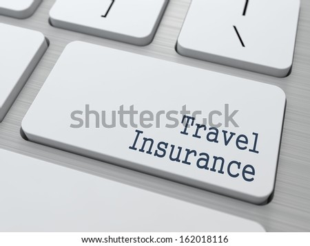 Travel  Insurance - Business Concept. Button on Modern Computer Keyboard. - stock photo