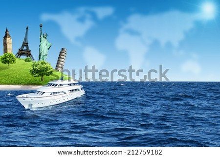 Travel Island with a big Yacht over Sky Map of the World background. Traveling concept - stock photo