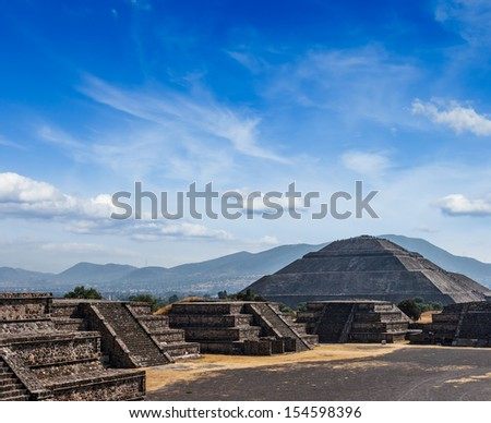 Travel Mexico background - Ancient Pyramid of the Sun. Teotihuacan. Mexico - stock photo