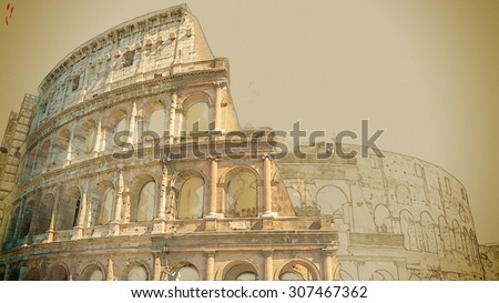 Travel painting with pencil and watercolor. Colosseum (Coliseum) in Rome, Italy. The Colosseum is an important monument of antiquity and is one of the main tourist attractions of Rome. - stock photo