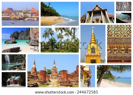 Travel Photo Collage From Thailand Includes Major Landmarks Like Bangkok Ayutthaya Tropical