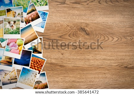 travel photo collage on wooden background - stock photo
