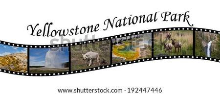 Travel Photo Film Strip of Yellowstone National Park, WY, USA - stock photo