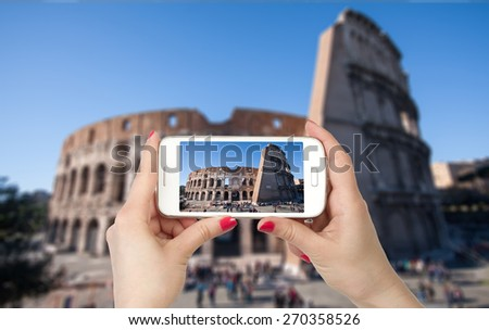 Travel photo on the phone, the Colosseum Italy - stock photo