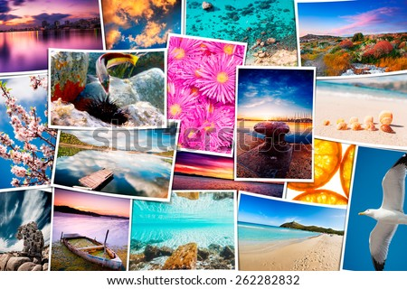 Travel pictures mosaic with seascape photos - these are all photos made by me, that you separately can find on my shutterstock portfolio. - stock photo