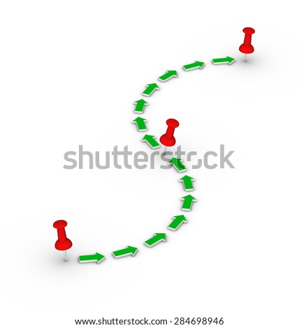 travel route with red thumbtacks and green arrows - stock photo