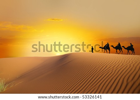 travel Saharan dunes - stock photo