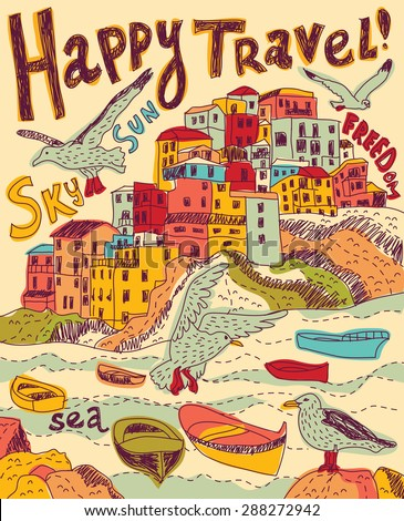 Travel sea city birds. Color card illustration. - stock photo