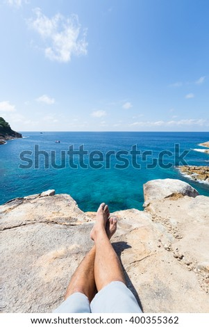 Travel seaside holiday. Travel seaside holiday and sunbathe. - stock photo